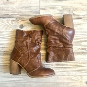 "Aldo Brown Leather Heeled ""Cowgirl"" Boots"